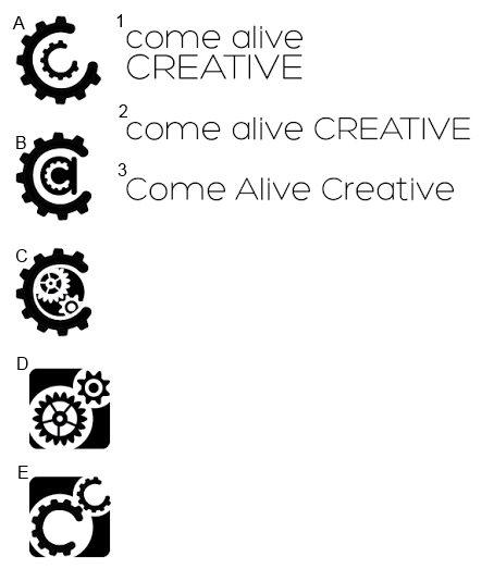 Come Alive Creative Logo Choices